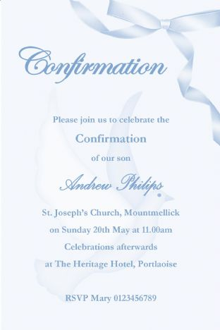 Personalised Confirmation Invitations Boy New Design 2